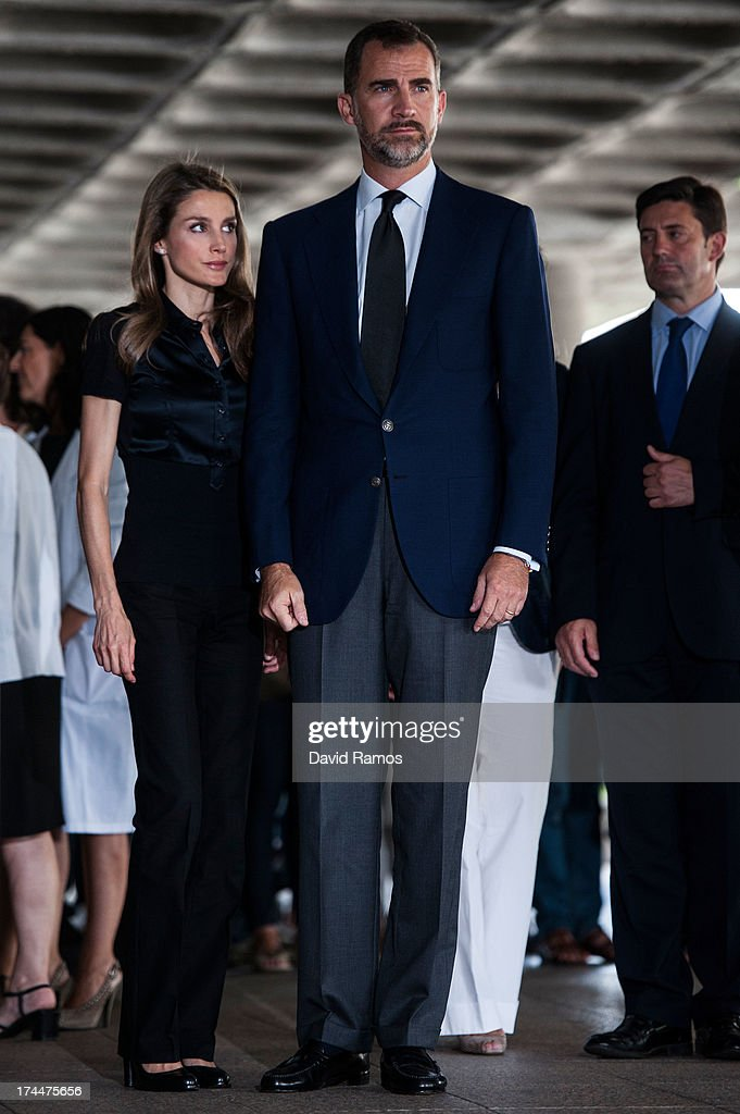Prince Felipe of Spain and Princess Letizia of Spain visit Clinico Hospital after a train crash killed 78 on July 26, 2013 in Santiago de Compostela, Spain. The crash occurred as the train approached the north-western Spanish city of Santiago de Compostela at 8.40pm on July 24th, at least 78 people have died and a further 131 reported injured. The crash occured on the eve of the Santiago de Compostela Festivities.