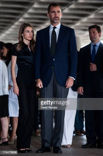Prince Felipe of Spain and Princess Letizia of Spain visit Clinico Hospital after a train crash killed 78 on July 26 2013 in Santiago de Compostela...