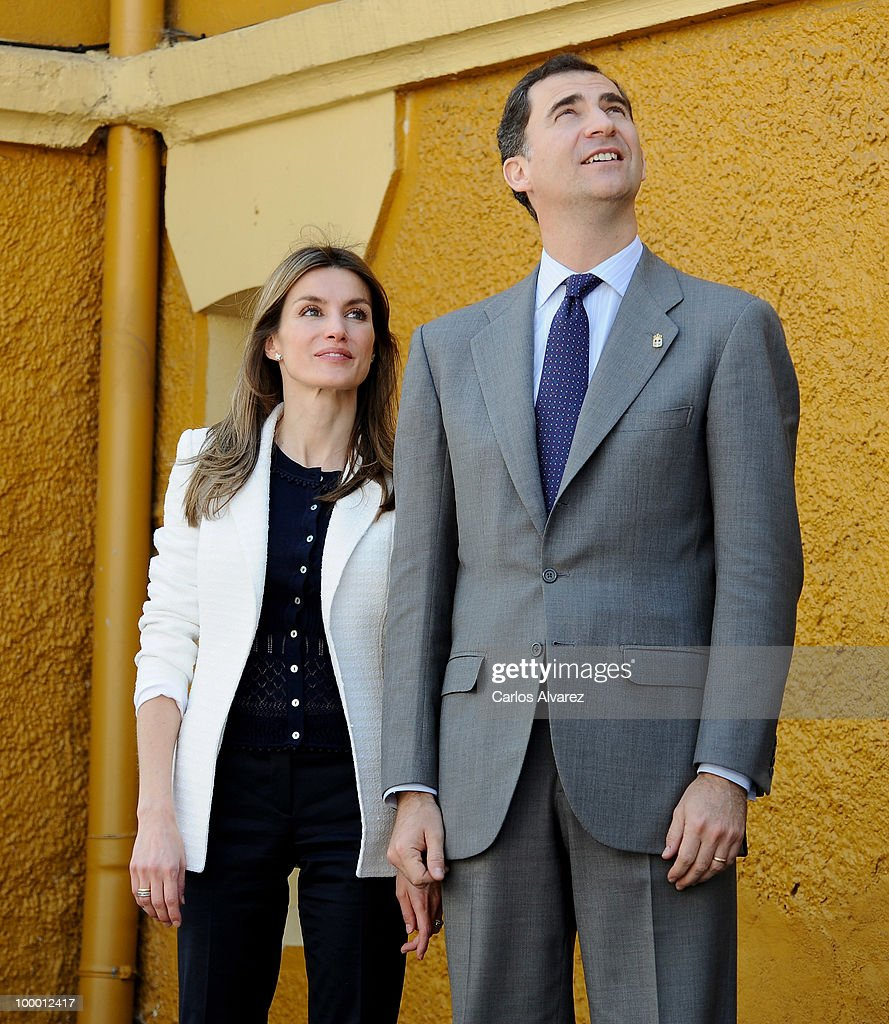 Prince Felipe of Spain and Princess Letizia of Spain visit 'Infanta Leonor' school on May 20, 2010 in Castrillon, Asturias, Spain.