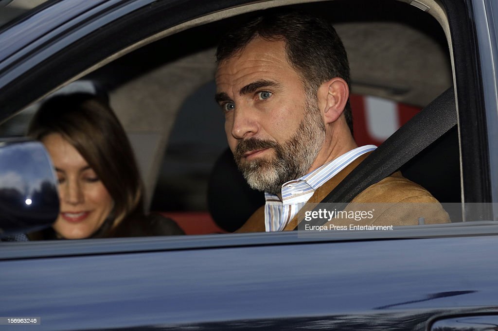 Prince Felipe of Spain and Princess <a gi-track='captionPersonalityLinkClicked' href=/galleries/search?phrase=Letizia+of+Spain&family=editorial&specificpeople=158373 ng-click='$event.stopPropagation()'>Letizia of Spain</a> visit King Juan Carlos of Spain on November 25, 2012 in Madrid, Spain. King Juan Carlos of Spain underwent an operation on his left hip.