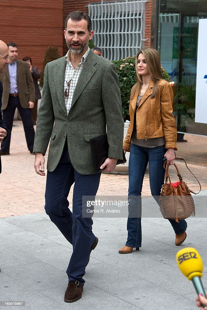 Prince Felipe of Spain and Princess <a gi-track='captionPersonalityLinkClicked' href=/galleries/search?phrase=Letizia+of+Spain&family=editorial&specificpeople=158373 ng-click='$event.stopPropagation()'>Letizia of Spain</a> visit King Juan Carlos of Spain at La Milagrosa Hospital on March 3, 2013 in Madrid, Spain. King Juan Carlos of Spain goes under surgery for a lower back disc hernia at La Milagrosa Hospital on March 3, 2013 in Madrid, Spain. He had hip surgery last November. The King has had several other health issues in the past two years, including knee surgery and the removal of a benign lung tumor.