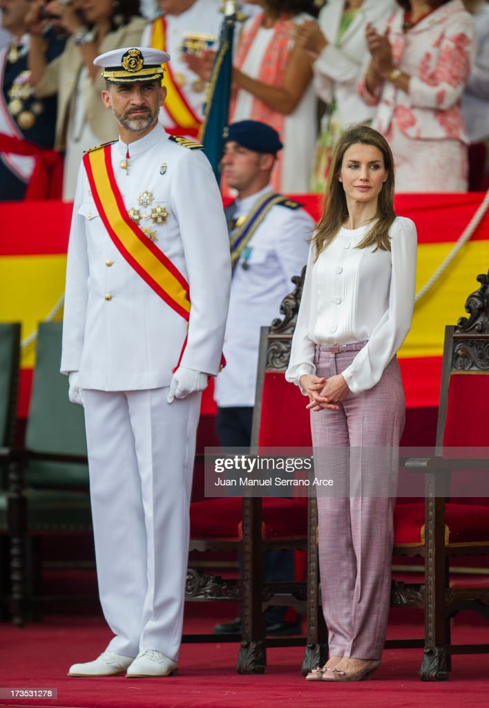 Prince Felipe of Spain (L) and Princess <a gi-track='captionPersonalityLinkClicked' href=/galleries/search?phrase=Letizia+of+Spain&family=editorial&specificpeople=158373 ng-click='$event.stopPropagation()'>Letizia of Spain</a> visit Marin Navy Academy to attend the graduation ceremony on July 16, 2013 in Pontevedra, Spain.