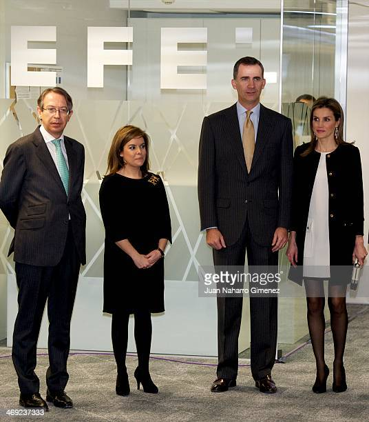 Prince Felipe of Spain and Princess Letizia of Spain visit new EFE Agency headquarters at EFE Agency on February 13 2014 in Madrid Spain