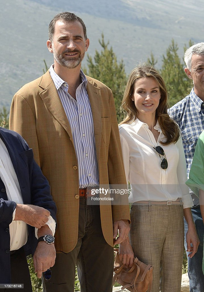 Prince Felipe of Spain and Princess <a gi-track='captionPersonalityLinkClicked' href=/galleries/search?phrase=Letizia+of+Spain&family=editorial&specificpeople=158373 ng-click='$event.stopPropagation()'>Letizia of Spain</a> visit Sierra de Guadarrama National Park on July 10, 2013 in Rascafria, Spain.