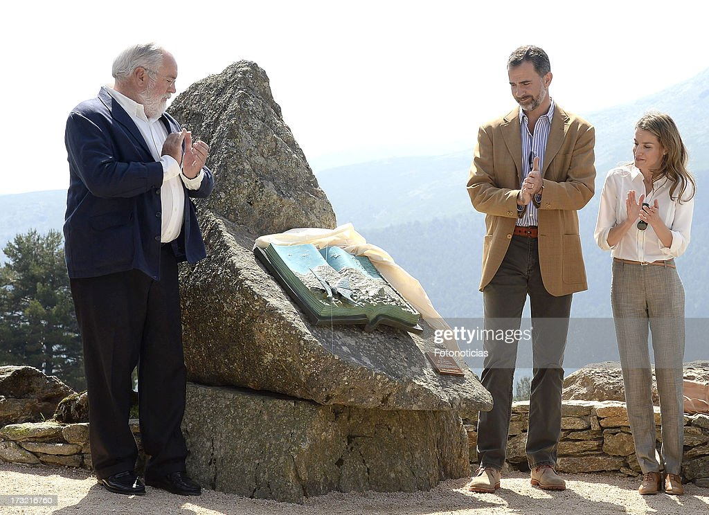 Prince Felipe of Spain (C) and Princess Letizia of Spain (R) visit Sierra de Guadarrama National Park on July 10, 2013 in Rascafria, Spain.
