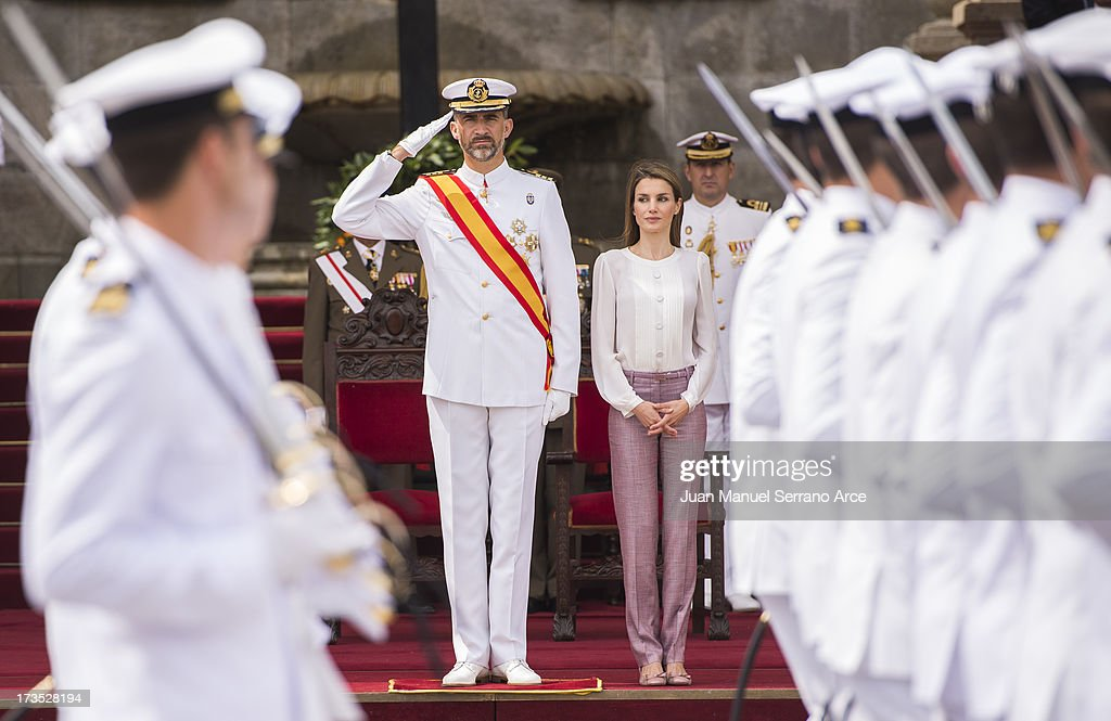 Prince Felipe of Spain (L) and Princess <a gi-track='captionPersonalityLinkClicked' href=/galleries/search?phrase=Letizia+of+Spain&family=editorial&specificpeople=158373 ng-click='$event.stopPropagation()'>Letizia of Spain</a> visit the Marine Navy Academy to attend a graduation ceremony on July 16, 2013 in Pontevedra, Spain.