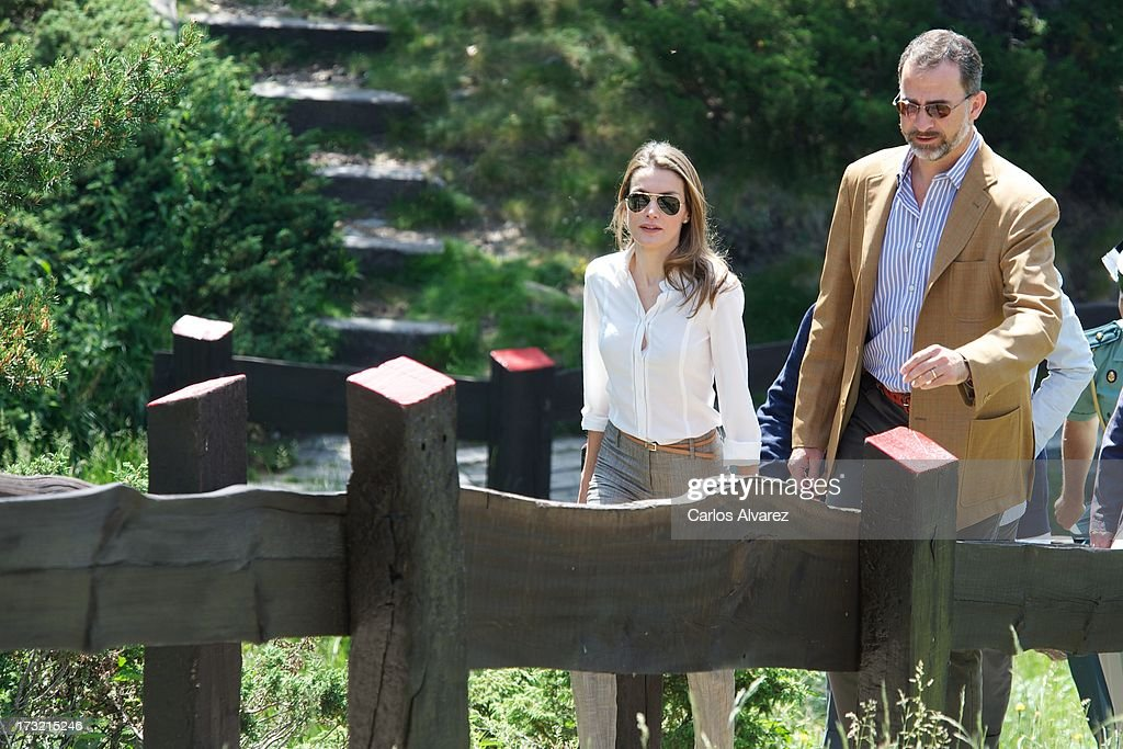 Prince Felipe of Spain and Princess Letizia of Spain visit the new National Park of Sierra de Guadarrama on July 10, 2013 in Rascafria, near of Madrid, Spain.