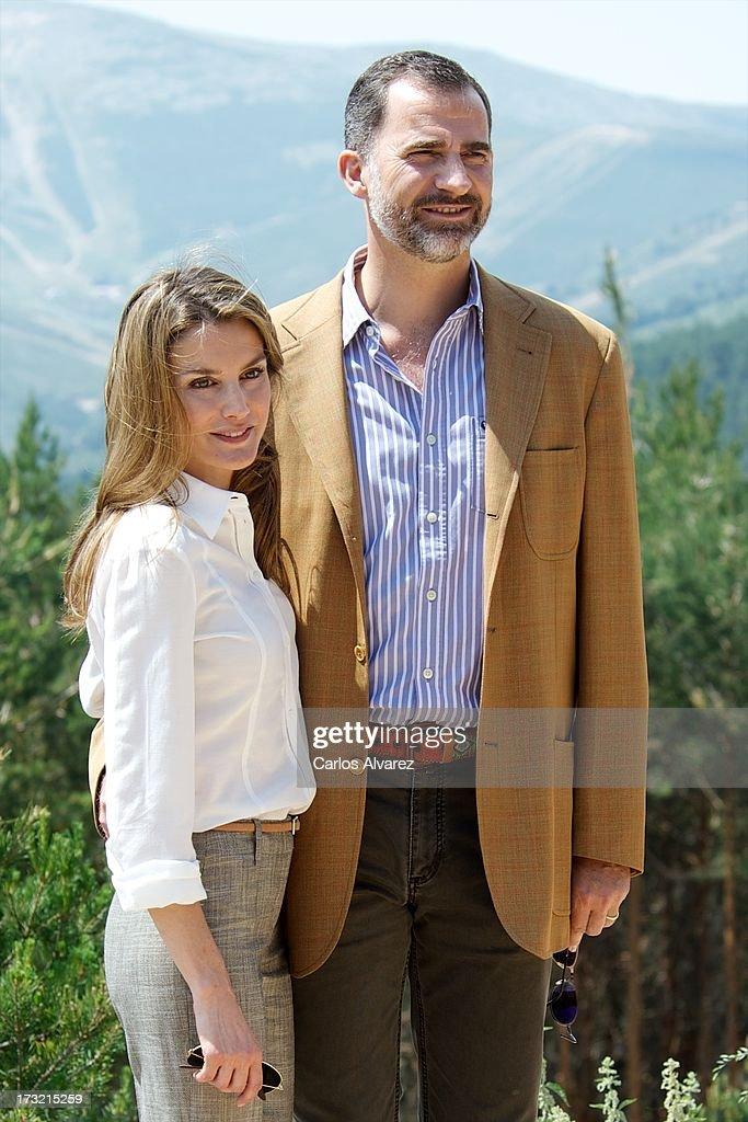Prince Felipe of Spain and Princess Letizia of Spain visit the new National Park of Sierra de Guadarrama on July 10, 2013 in Rascafria, near of Madrid, Spain.