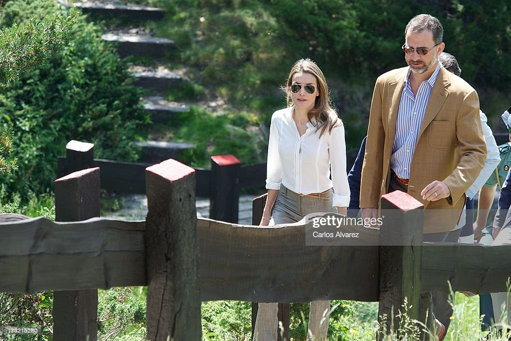 Prince Felipe of Spain and Princess <a gi-track='captionPersonalityLinkClicked' href=/galleries/search?phrase=Letizia+of+Spain&family=editorial&specificpeople=158373 ng-click='$event.stopPropagation()'>Letizia of Spain</a> visit the new National Park of Sierra de Guadarrama on July 10, 2013 in Rascafria, near of Madrid, Spain.
