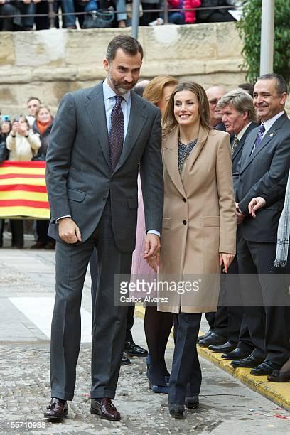 Prince Felipe of Spain and Princess Letizia of Spain visit the village of Alcaniz on November 7 2012 in Alcaniz Teruel Spain
