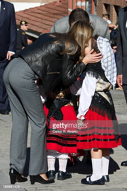 Prince Felipe of Spain and Princess Letizia of Spain visit the village of Teverga on October 26 2013 in Asturias Spain The village of Teverga was...