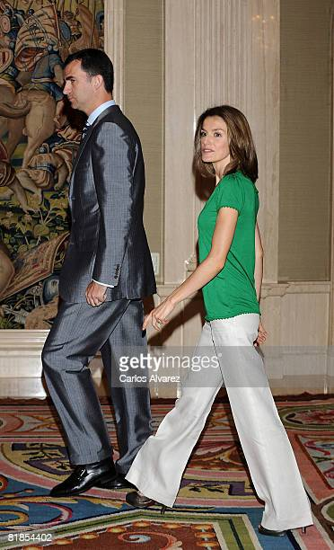 Prince Felipe of Spain and Princess Letizia receive in audience Granted In 'Becas Europa' on July 08 2008 at the Zarzuela Palace in Madrid