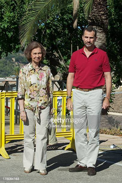 Prince Felipe of Spain and Queen Sofia of Spain visit the Fire Control Center on July 31 2013 in Andratx Mallorca Spain