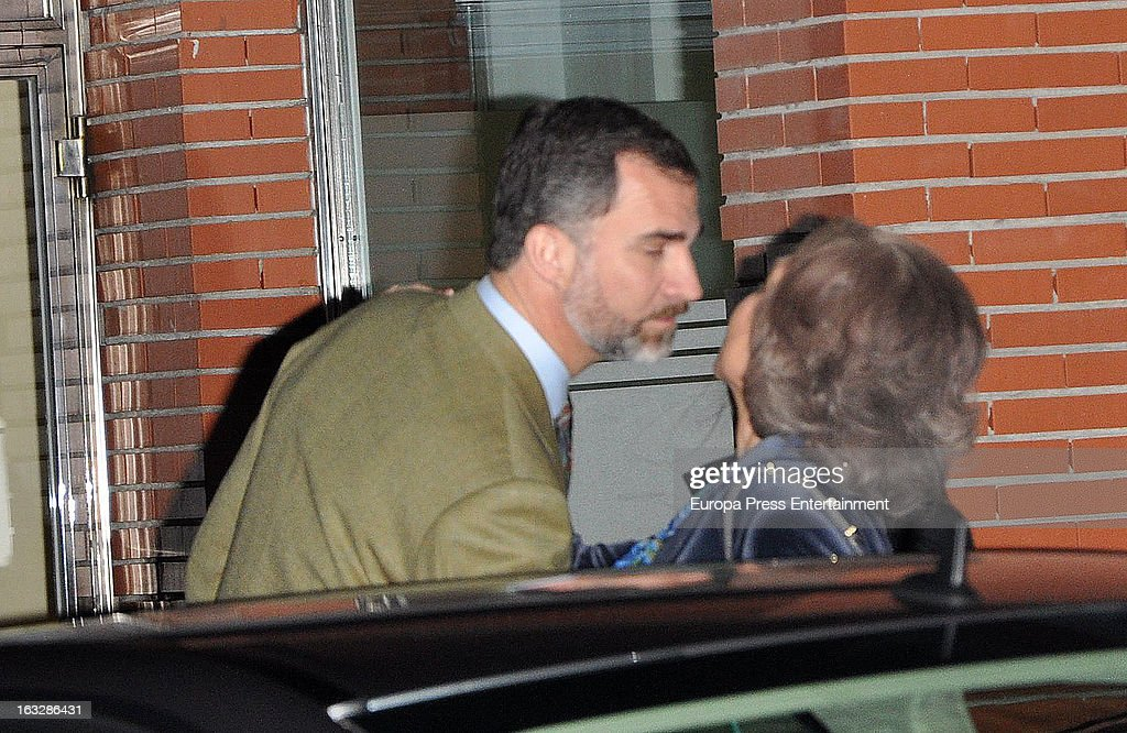 Prince Felipe of Spain and Queen Sofia visit King Juan Carlos of Spain at La Milagrosa Hospital on March 6, 2013 in Madrid, Spain. King Juan Carlos of Spain underwent surgery for a lower back disc hernia yesterday. He also had hip surgery last November. The King has had several other health issues in the past two years, including knee surgery and the removal of a benign lung tumor.