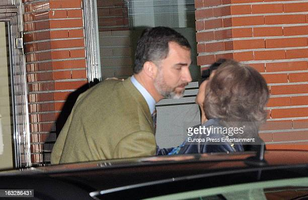 Prince Felipe of Spain and Queen Sofia visit King Juan Carlos of Spain at La Milagrosa Hospital on March 6 2013 in Madrid Spain King Juan Carlos of...