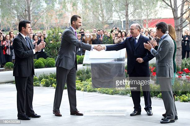 Prince Felipe of Spain and Repsol President Antonio Brufau during their visit to the new Repsol Headquarters on January 31 2013 in Madrid Spain