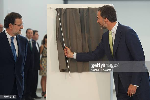 Prince Felipe of Spain and Spanish Prime Minister Mariano Rajoy officially inaugurate of the new Alta Velocidad Espanola high speed Madrid to...