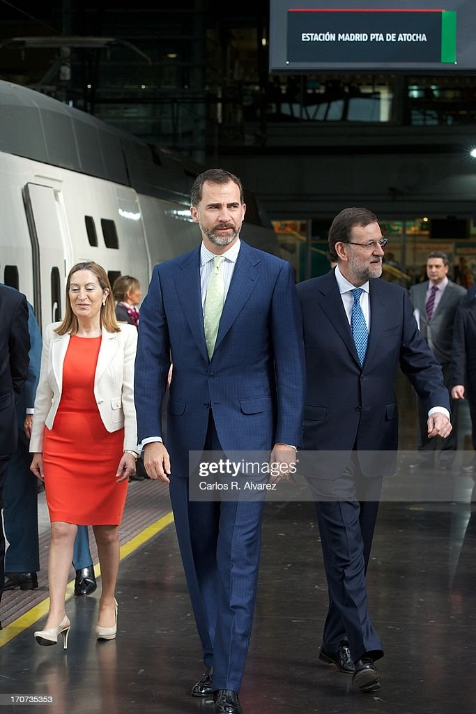 Prince Felipe of Spain (C) and Spanish Prime Minister Mariano Rajoy attend the official inauguration of the new Alta Velocidad Espanola (AVE) high speed Madrid to Alicante rail link at Atocha AVE station on June 17, 2013 in Madrid, Spain.