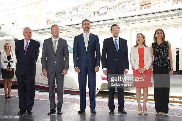 Prince Felipe of Spain and Spanish Prime Minister Mariano Rajoy attends the official inauguration of the new Alta Velocidad Espanola high speed...
