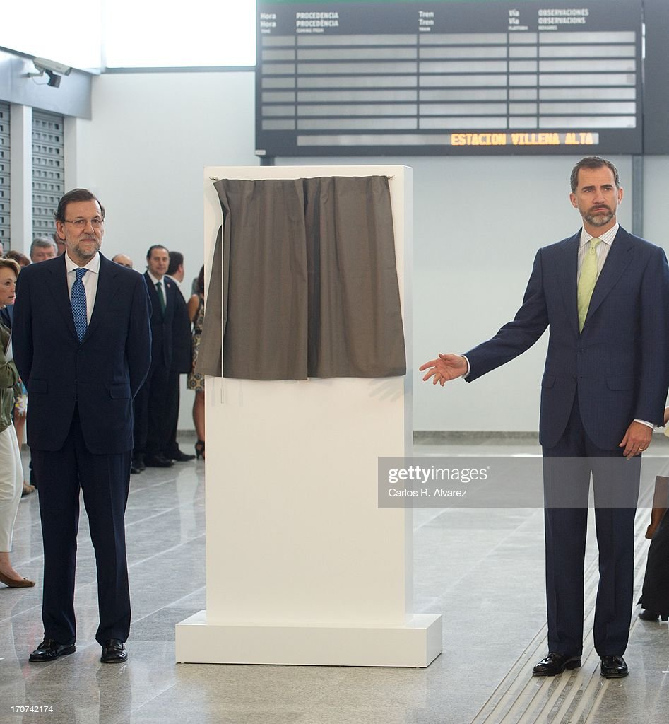 Prince Felipe of Spain (R) and Spanish Prime Minister Mariano Rajoy officially inaugurate the new Alta Velocidad Espanola (AVE) high speed Madrid to Alicante rail link at Villena AVE station on June 17, 2013 in Villena, Alicante, Spain.