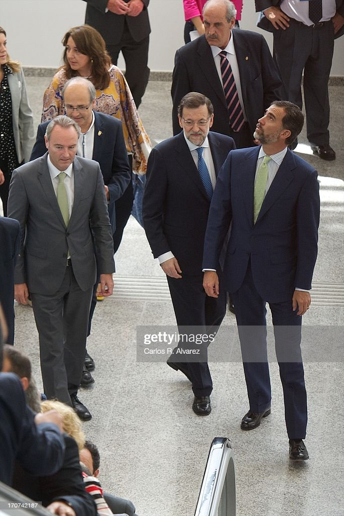 Prince Felipe of Spain (R) and Spanish Prime Minister Mariano Rajoy (C) attends the official inauguration of the new Alta Velocidad Espanola (AVE) high speed Madrid to Alicante rail link at Villena AVE station on June 17, 2013 in Villena, Alicante, Spain.