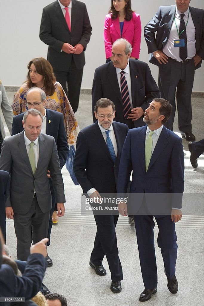 Prince Felipe of Spain (R) and Spanish Prime Minister Mariano Rajoy (C) attend the official inauguration of the new Alta Velocidad Espanola (AVE) high speed Madrid to Alicante rail link at Villena AVE station on June 17, 2013 in Villena, Alicante, Spain.