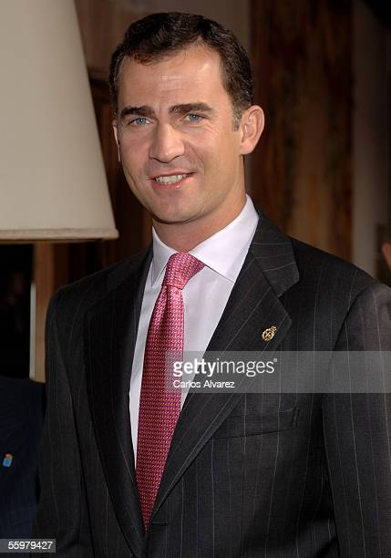 Prince Felipe of Spain arrives to an audence before Prince of Asturias Awards ceremony on October 21 at Hotel Reconquista in Oviedo Spain