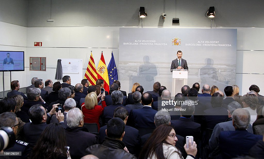 Prince Felipe of Spain attends a press presentation at Girona train station during the inauguration of the AVE high-speed train line between Barcelona and the French border on January 8, 2013 in Barcelona, Spain.