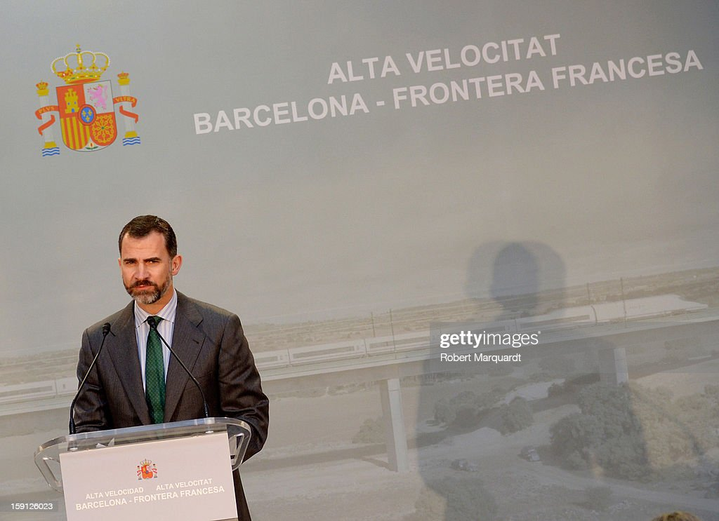 Prince Felipe of Spain attends a press presentation at the Girona train station for the inauguration of the AVE high-speed train line between Barcelona and the French border on January 8, 2013 in Barcelona, Spain.