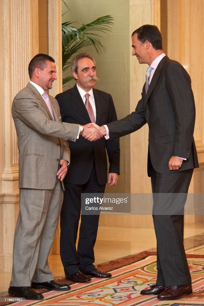 Prince Felipe of Spain (R) attends audiences at Zarzuela Palace on July 11, 2011 in Madrid, Spain.