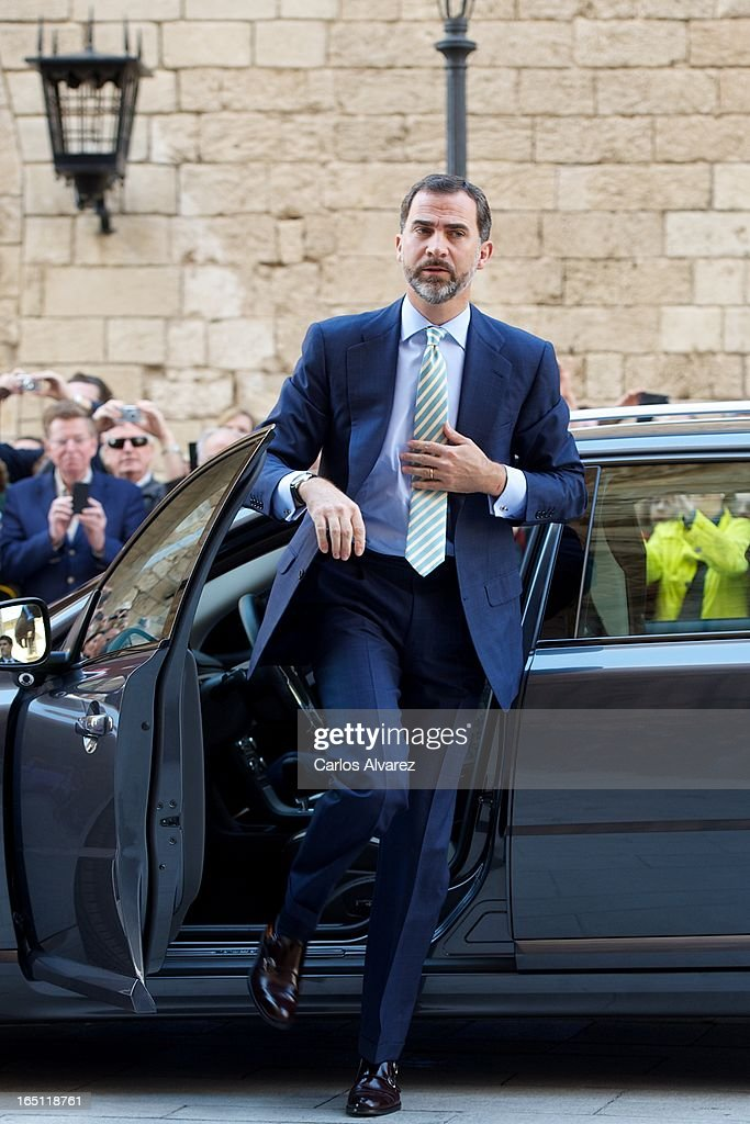 Prince Felipe of Spain attends Easter Mass at the Cathedral of Palma de Mallorca on March 31, 2013 in Palma de Mallorca, Spain.