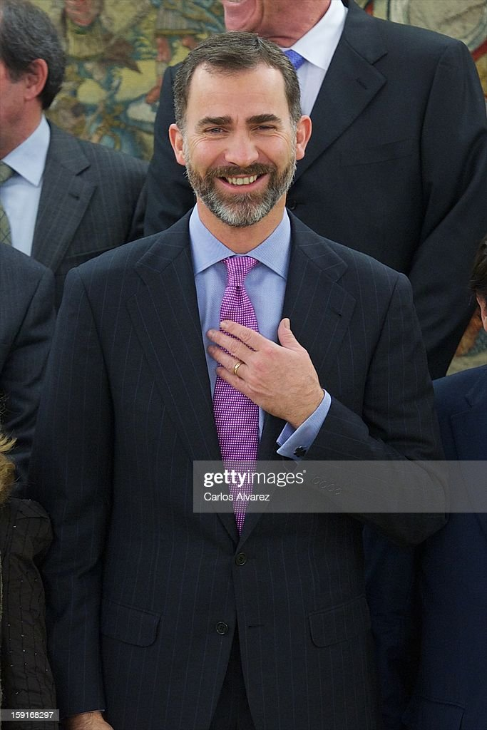 Prince Felipe of Spain attends several audiences at Zarzuela Palace on January 9, 2013 in Madrid, Spain.