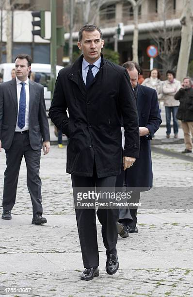 Prince Felipe of Spain attends the funeral chapel for the flamenco guitarist Paco de Lucia at Auditorio Nacional on February 28 2014 in Madrid Spain
