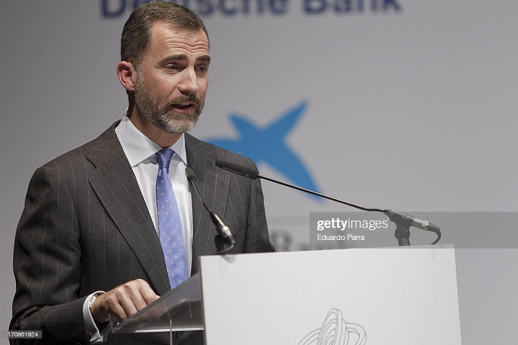 Prince Felipe of Spain attends the 'Jaime Fernandez de Araoz Corporate Finance Awards' at Madrid Caixaforum on June 20, 2013 in Madrid, Spain.
