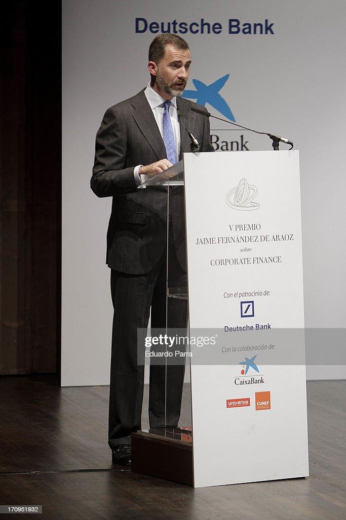 Prince Felipe of Spain attends the 'Jaime Fernandez de Araoz Corporate Finance Awards' at Madrid Caixaforum on June 20, 2013 in Madrid, Spain.