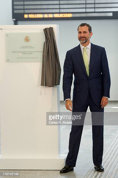 Prince Felipe of Spain attends the official inauguration of the new Alta Velocidad Espanola high speed Madrid to Alicante rail link at Villena AVE...