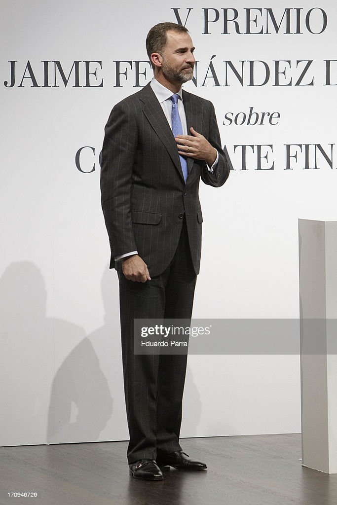 Prince Felipe of Spain attends the V Jaime Fernandez de Araoz Corporate Finance awards at Madrid Caixaforum on June 20, 2013 in Madrid, Spain.