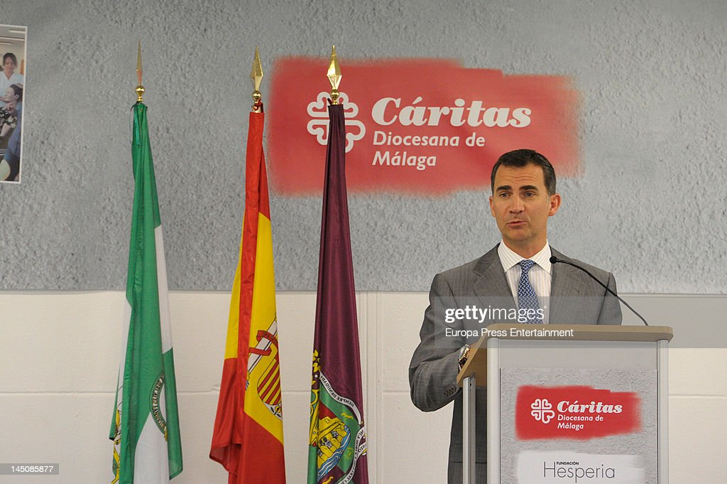 Prince Felipe of Spain celebrates his eighth wedding anniversary visiting a Caritas centre on May 22 2012 in Malaga Spain
