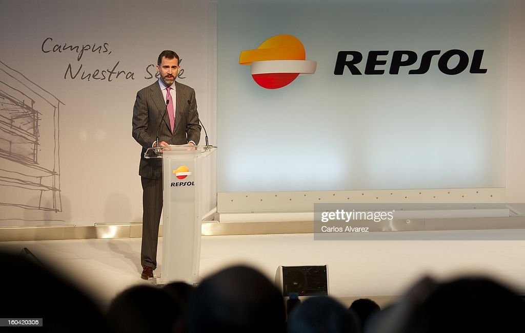 Prince Felipe of Spain delivers a speech during the visit to the new Repsol Headquarters on January 31, 2013 in Madrid, Spain.