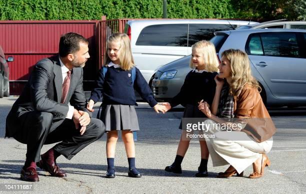 Prince Felipe of Spain Infanta Leonor Infanta Sofia and Princess Letizia of Spain arrive at 'Santa Maria de los Rosales' School on September 15 2010...