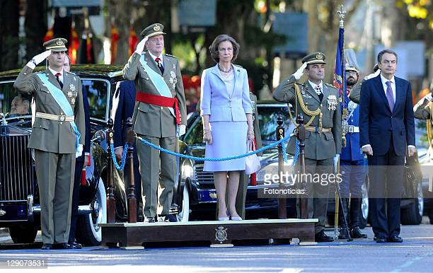 Prince Felipe of Spain King Juan Carlos of Spain Queen Sofia of Spain and Prime Minister Jose Luis Rodriguez Zapatero attend The National Day...