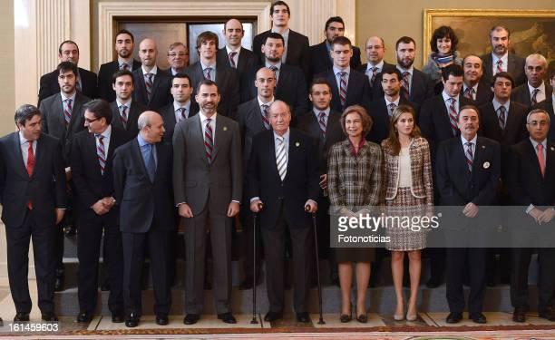 Prince Felipe of Spain King Juan Carlos of Spain Queen Sofia of Spain and Princess Letizia of Spain receive The Spanish Handball National Team at...