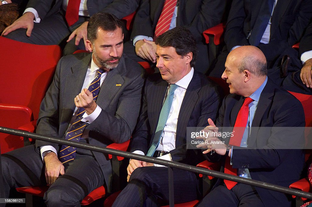 Prince Felipe of Spain, Madrid Regional President Ignacio Gonzalez and Spain's Minister for Education, Culture and Sport <a gi-track='captionPersonalityLinkClicked' href=/galleries/search?phrase=Jose+Ignacio+Wert&family=editorial&specificpeople=8761709 ng-click='$event.stopPropagation()'>Jose Ignacio Wert</a> Ortega attend Spanish Olympic Commitee Centenary Gala at El Canal theater on December 12, 2012 in Madrid, Spain.