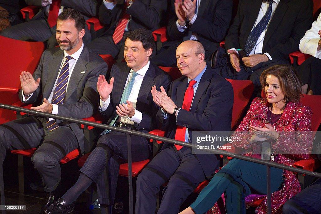 Prince Felipe of Spain, Madrid Regional President Ignacio Gonzalez, Spain's Minister for Education, Culture and Sport <a gi-track='captionPersonalityLinkClicked' href=/galleries/search?phrase=Jose+Ignacio+Wert&family=editorial&specificpeople=8761709 ng-click='$event.stopPropagation()'>Jose Ignacio Wert</a> Ortega and Madrid's major <a gi-track='captionPersonalityLinkClicked' href=/galleries/search?phrase=Ana+Botella&family=editorial&specificpeople=235432 ng-click='$event.stopPropagation()'>Ana Botella</a> attend Spanish Olympic Commitee Centenary Gala at El Canal theater on December 12, 2012 in Madrid, Spain.