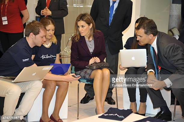 Prince Felipe of Spain nd Princess Letizia of Spain attend 'GSMA Mobile World Congress 2014' on February 24 2014 in Barcelona Spain