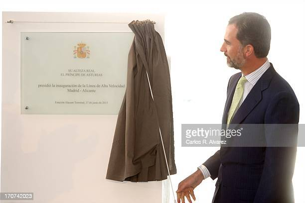 Prince Felipe of Spain officially inaugurates the new Alta Velocidad Espanola high speed Madrid to Alicante rail link at Alicante AVE station on June...