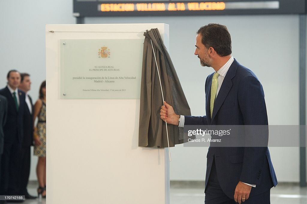 Prince Felipe of Spain officially inaugurates the new Alta Velocidad Espanola (AVE) high speed Madrid to Alicante rail link at Villena AVE station on June 17, 2013 in Villena, Alicante, Spain.