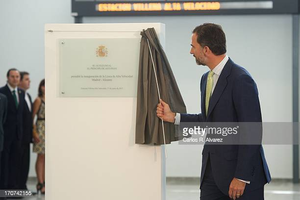Prince Felipe of Spain officially inaugurates the new Alta Velocidad Espanola high speed Madrid to Alicante rail link at Villena AVE station on June...