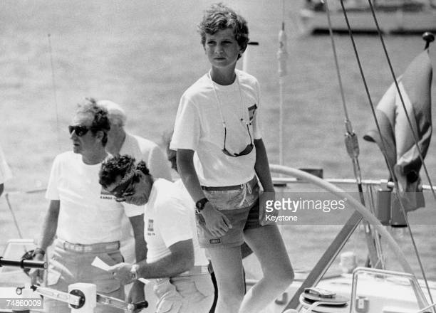 Prince Felipe of Spain on the deck of the yacht 'Xargo IV' before taking part in the Majorca Trophy 18th August 1982 His father King Juan Carlos is...