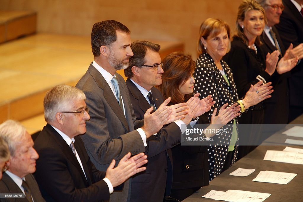 Prince Felipe of Spain, President of Catalonia Artur Mas and Soraya Saenz de Santamaria attend a ceremony for recently graduated judges at the Auditori on April 4, 2013 in Barcelona, Spain.